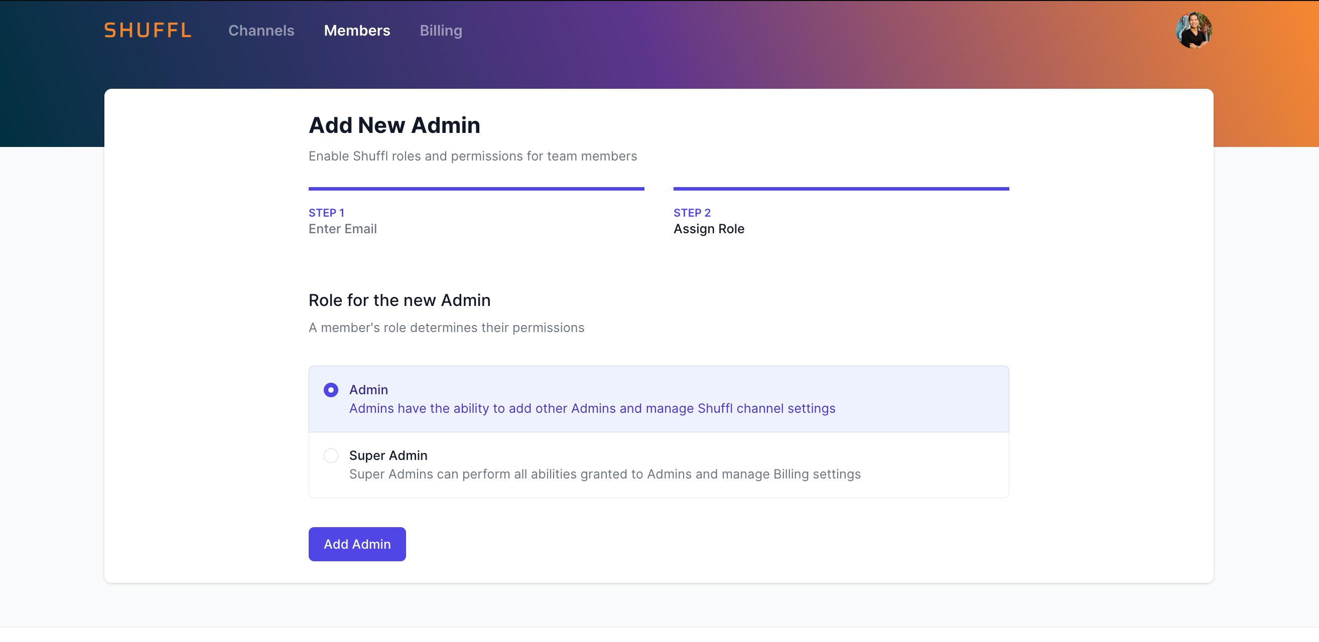 Shuffl Portal - Add Admin